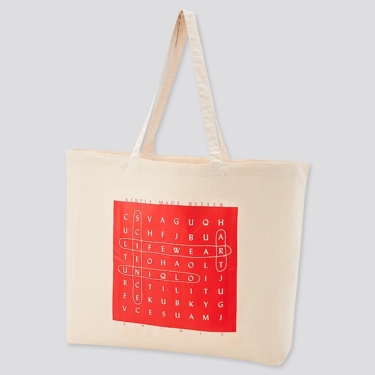Large Eco-Friendly Printed Tote Bag, Off White, Large