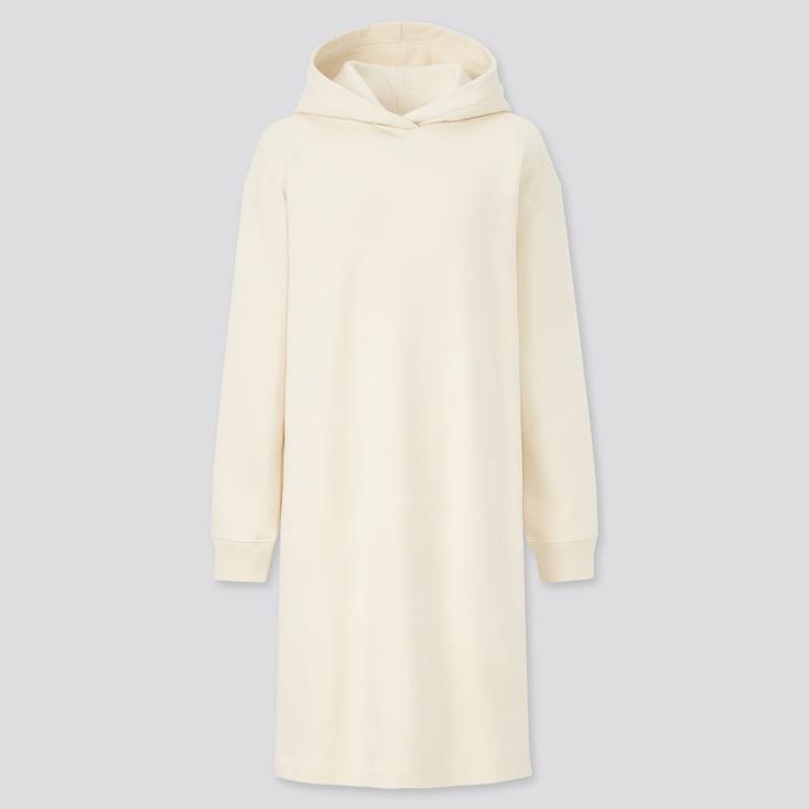 Women Sweat Long-Sleeve Hoodie Dress, Off White, Large