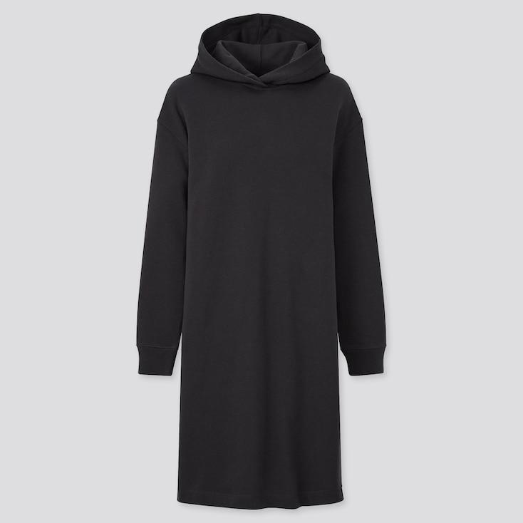 Women Sweat Long-Sleeve Hoodie Dress, Black, Large