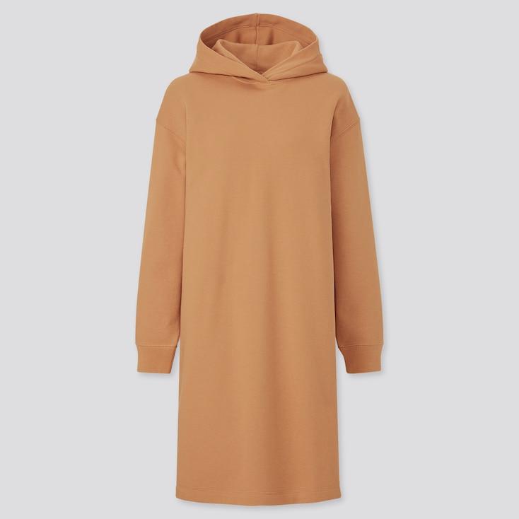 Women Sweat Long-Sleeve Hoodie Dress, Orange, Large