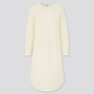 Women Waffle Crew Neck Long Sleeved Dress