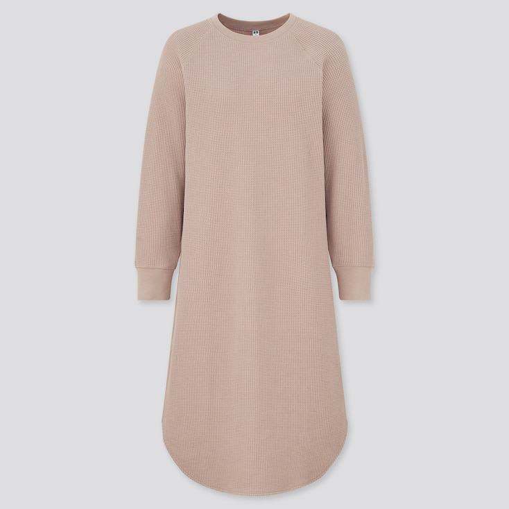 Women Waffle Crew Neck Long Sleeve Dress, Pink, Large