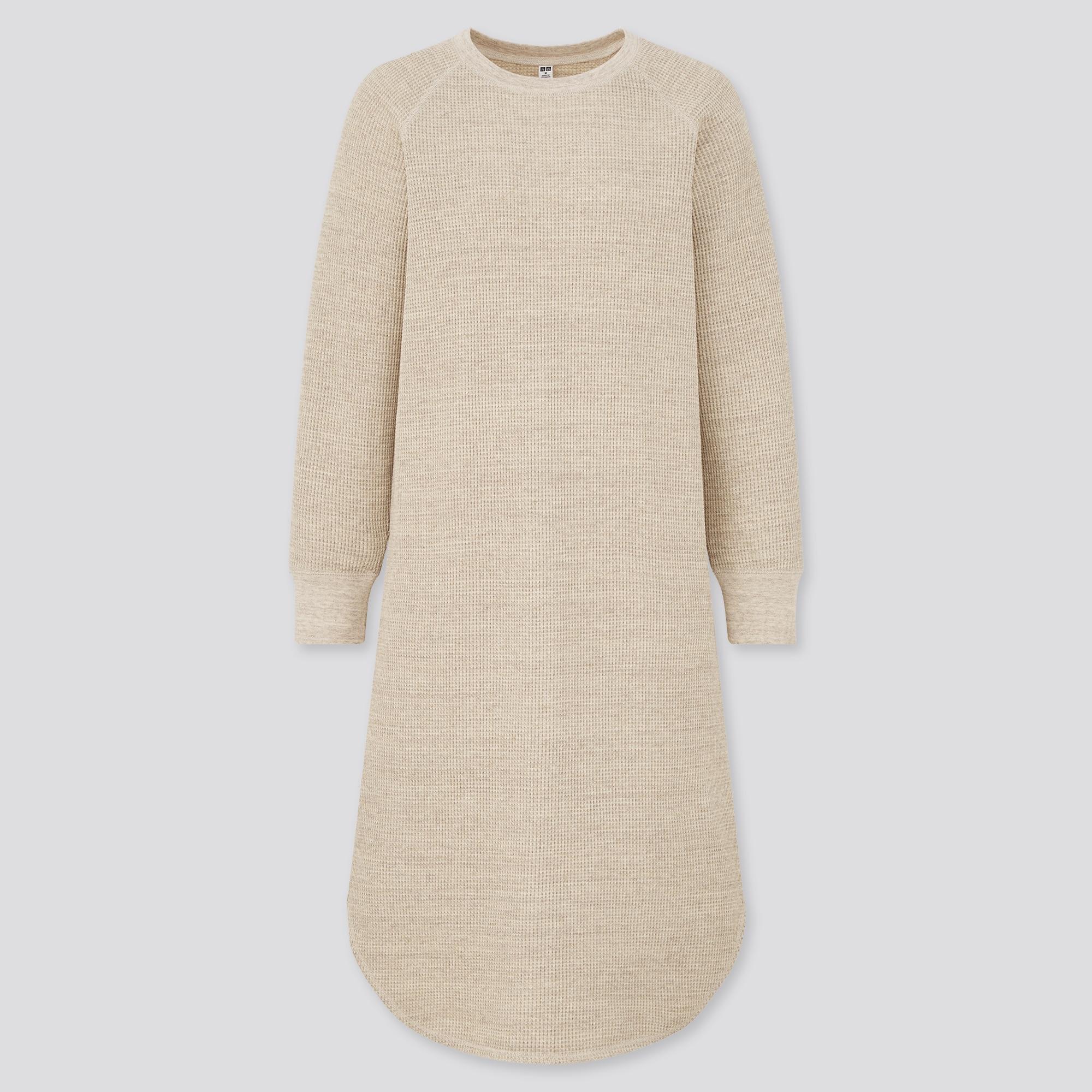 women waffle crew neck long sleeve dress
