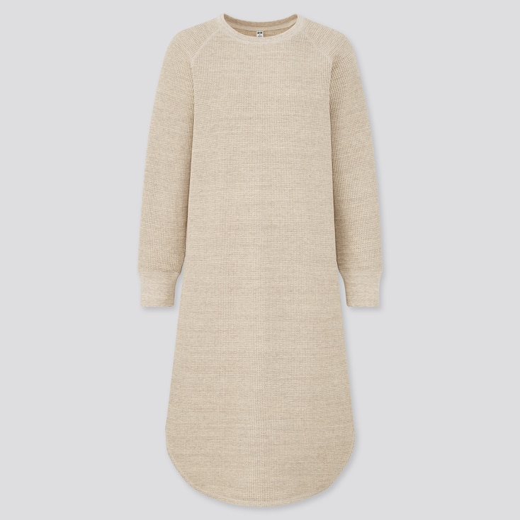 Women Waffle Crew Neck Long Sleeve Dress, Natural, Large