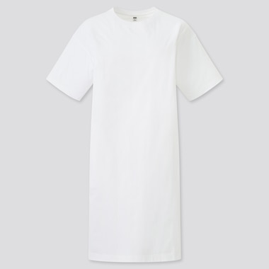 Women Mercerized Cotton Short-Sleeve T Dress, White, Medium