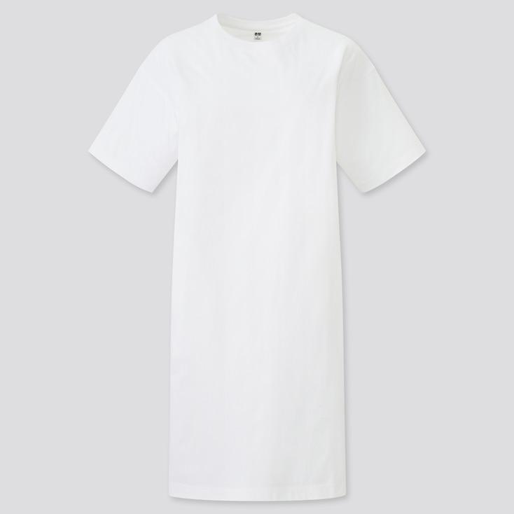 Women Mercerized Cotton Short-Sleeve T-Shirt Dress, White, Large