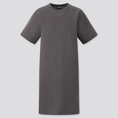 Women Mercerized Cotton Short-Sleeve T-Shirt Dress, Gray, Medium