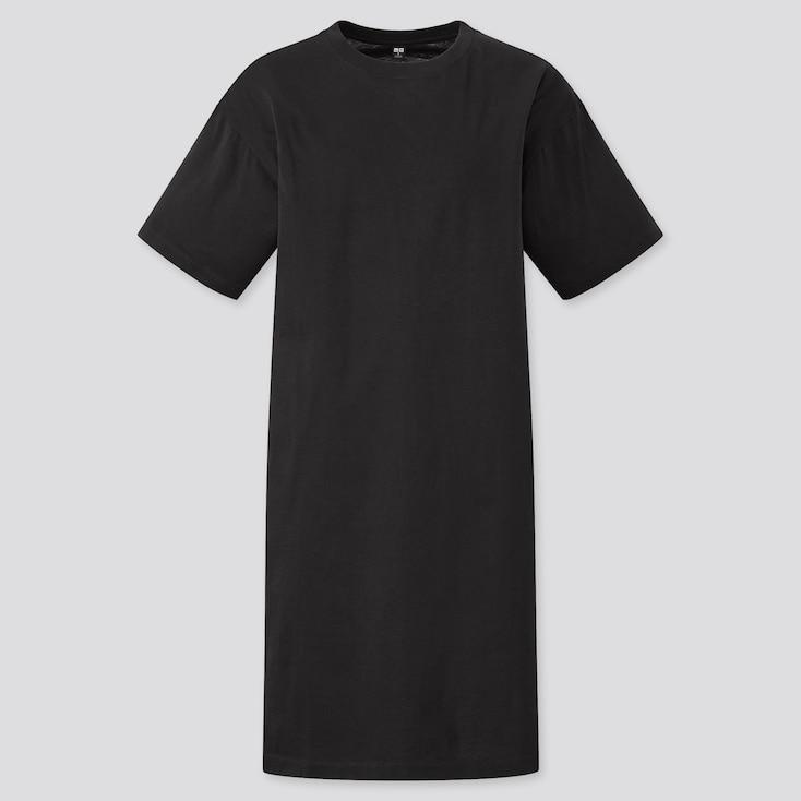 Women Mercerized Cotton Short-Sleeve T-Shirt Dress, Black, Large