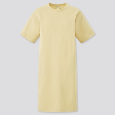 Women Mercerized Cotton Short-Sleeve T-Shirt Dress, Yellow, Medium