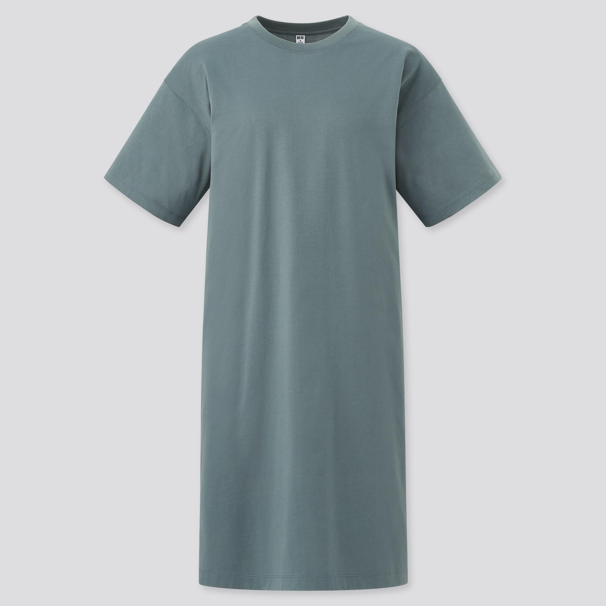 WOMEN MERCERIZED COTTON SHORT-SLEEVE T DRESS