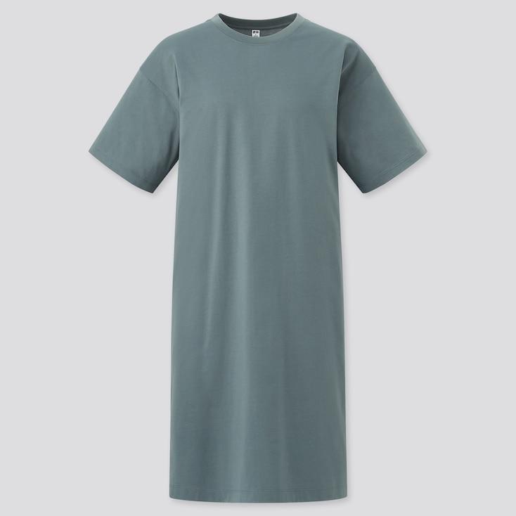 Women Mercerized Cotton Short-Sleeve T Dress, Green, Large