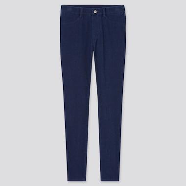 Women Ultra Stretch Denim Leggings Pants, Blue, Medium