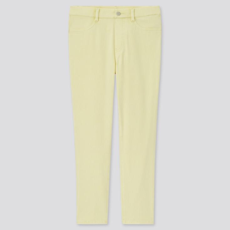 Women Ultra Stretch Cropped Leggings Pants, Yellow, Large