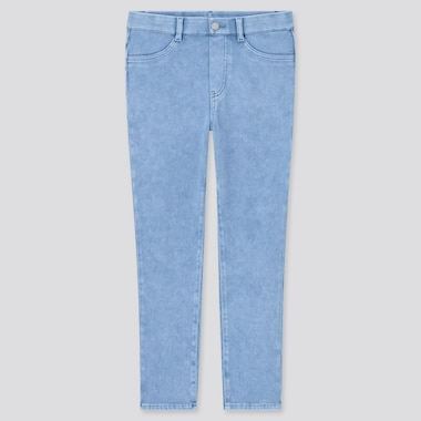Women Ultra Stretch Cropped Leggings Pants, Blue, Medium