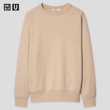 U Wide-Fit Long-Sleeve Sweatshirt, Beige, Medium