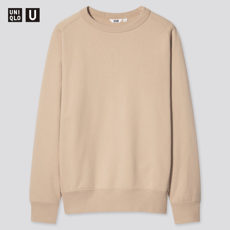 U Wide-Fit Long-Sleeve Sweatshirt, Beige, Large