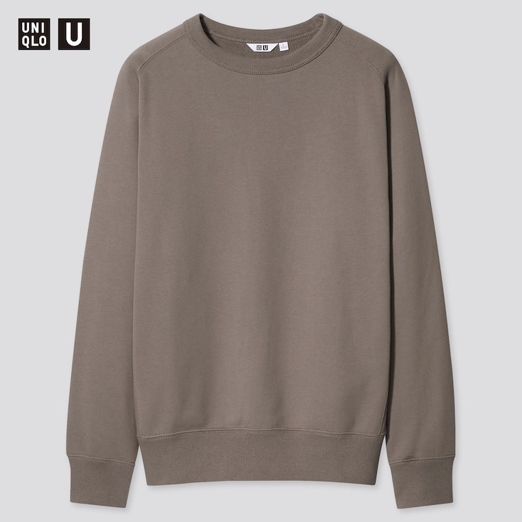 U Wide-Fit Long-Sleeve Sweatshirt, Khaki, Large