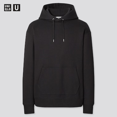 Men U Wide-Fit Long-Sleeve Sweat Pullover Hoodie, Black, Medium