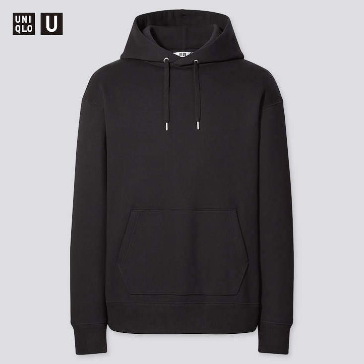 Men U Wide-Fit Long-Sleeve Sweat Pullover Hoodie, Black, Large