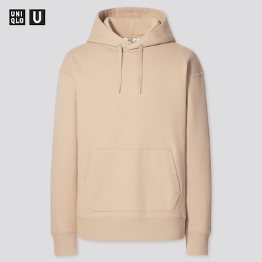 U Wide-Fit Long-Sleeve Sweat Pullover Hoodie, Beige, Medium