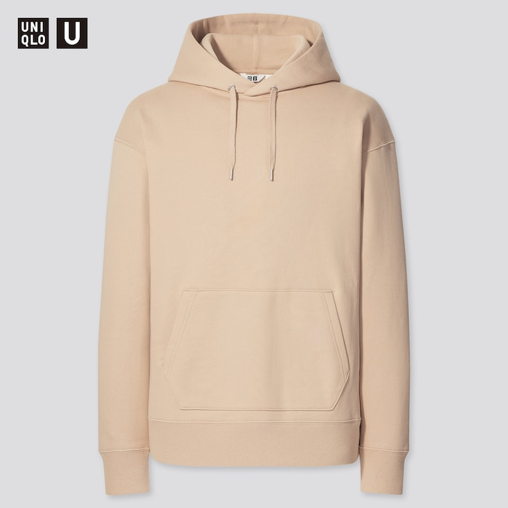 U Wide-Fit Long-Sleeve Sweat Pullover Hoodie, Beige, Large