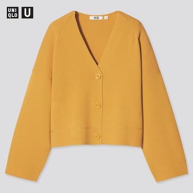 Women U Milano Ribbed V-Neck Cardigan, Yellow, Medium