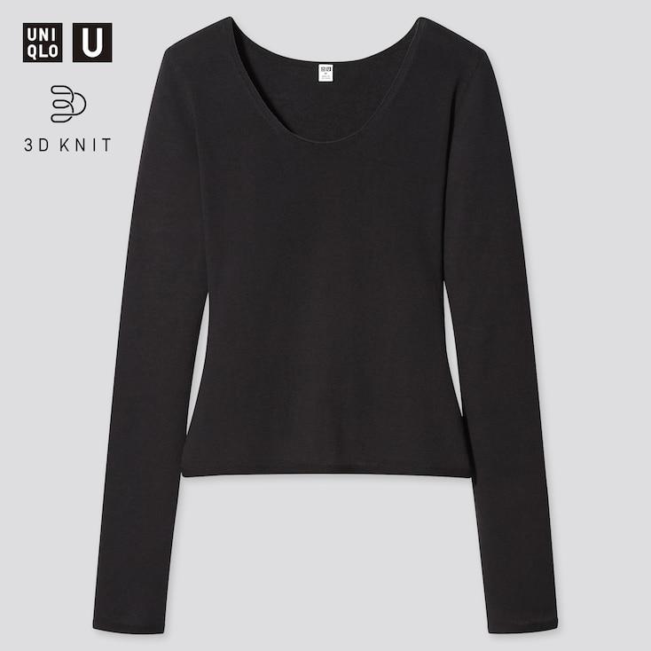 Women U 3d High Twisted Crew Neck Long-Sleeve Sweater, Black, Large