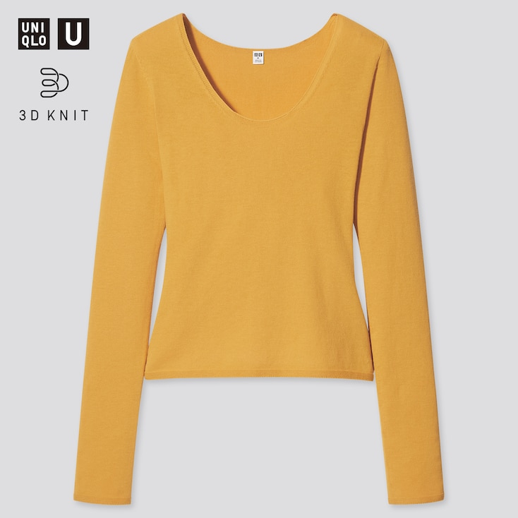 Women U 3d High Twisted Crew Neck Long-Sleeve Sweater, Yellow, Large