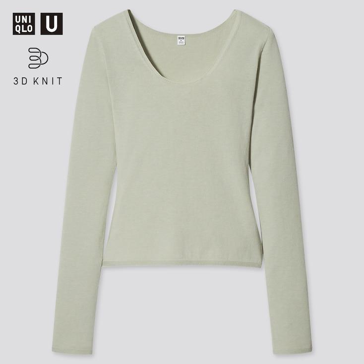 Women U 3d High Twisted Crew Neck Long-Sleeve Sweater, Light Green, Large