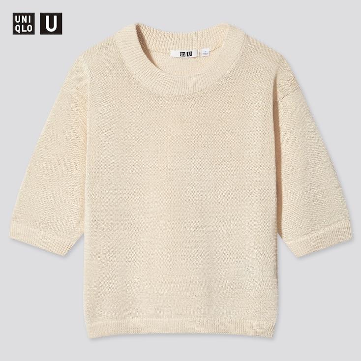 Women U Cotton Blend Crew Neck Sweater, Natural, Large