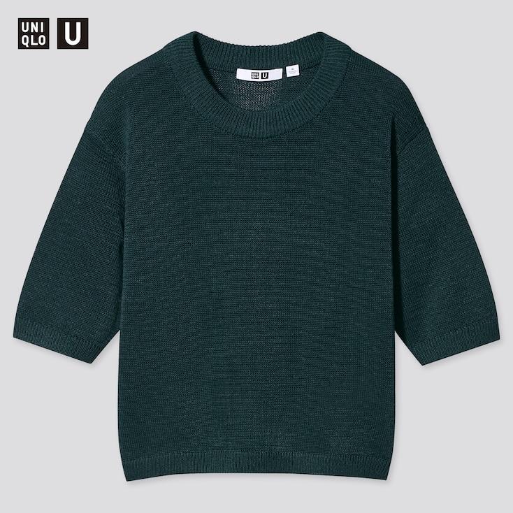 Women U Cotton Blend Crew Neck Sweater, Dark Green, Large