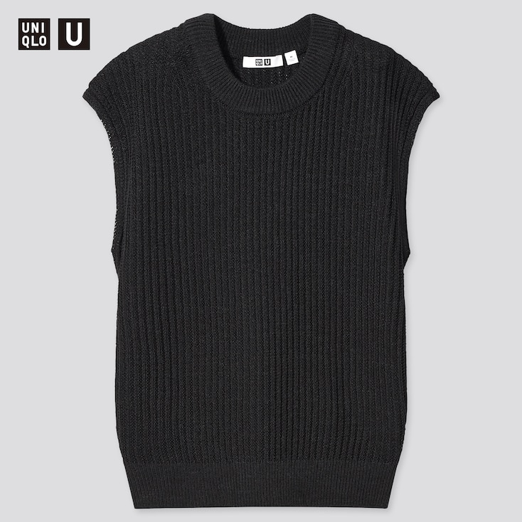 Women U Cotton Blend Crew Neck Sleeveless Sweater, Black, Large