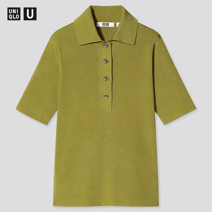 Women U Viscose Blend Short-Sleeve Polo Sweater, Green, Large