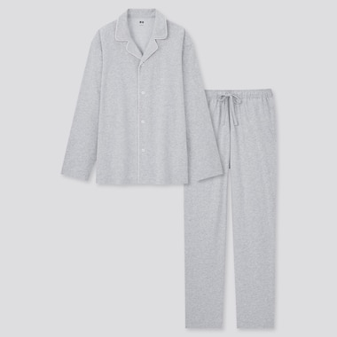 Men Airism Cotton Long-Sleeve Pajamas, Gray, Medium