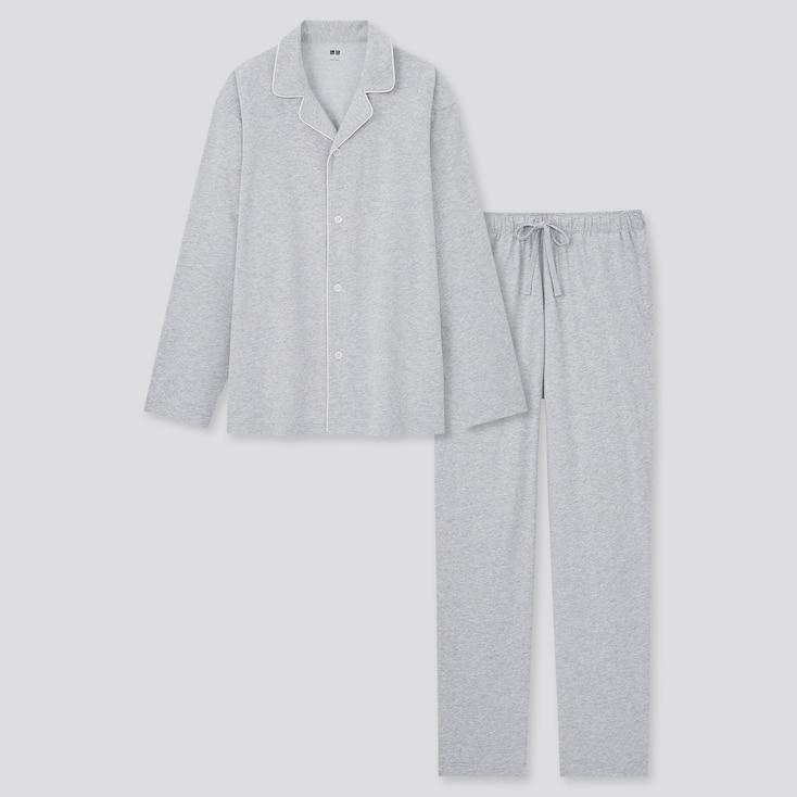 Men Airism Cotton Long-Sleeve Pajamas, Gray, Large