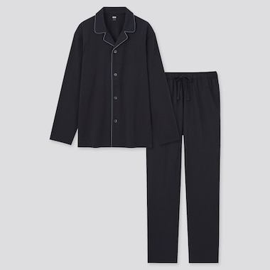 Men Airism Cotton Long-Sleeve Pajamas, Black, Medium