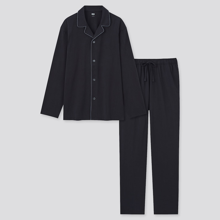 Men Airism Cotton Long-Sleeve Pajamas, Black, Large