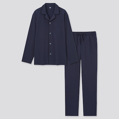 Men Airism Cotton Long-Sleeve Pajamas, Navy, Medium