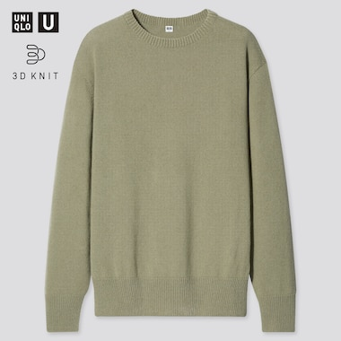 Men U 3d Crew Neck Long-Sleeve Sweater, Green, Medium
