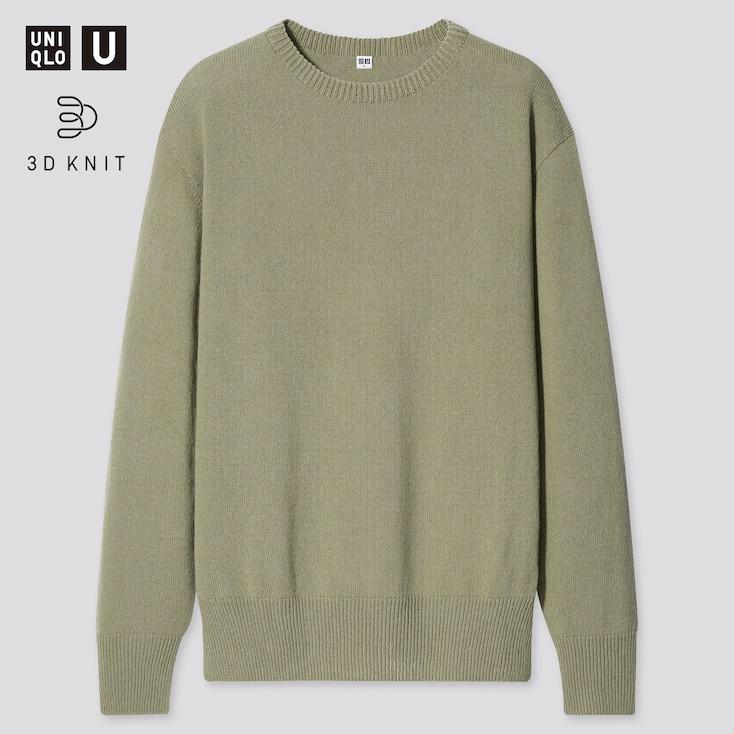 Men U 3d Crew Neck Long-Sleeve Sweater, Green, Large