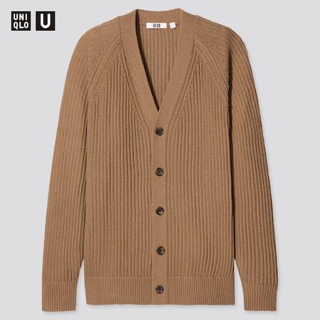 Herren UNIQLO U Strickjacke mit V-Ausschnitt und Raglan-Ärmeln