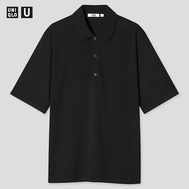 Men U Fine-Gauge Knitted Short-Sleeve Polo Shirt, Black, Medium