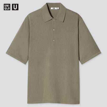 Men Uniqlo U Fine Gauge Knit Short Sleeved Polo Shirt