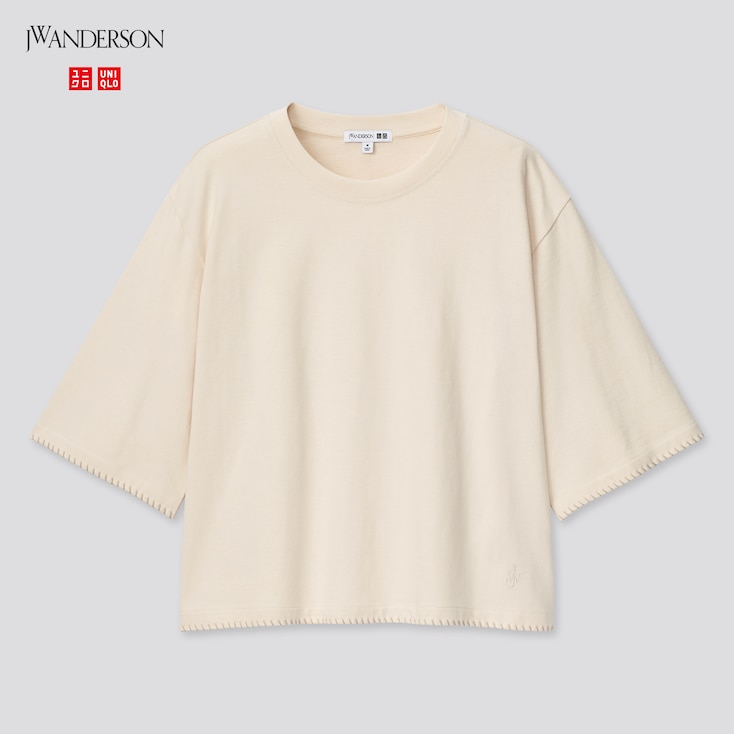 Women Cotton Blanket Stitch Half-Sleeve T-Shirt (Jw Anderson), Off White, Large