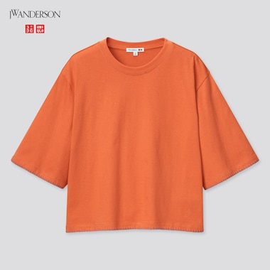 Women Cotton Blanket Stitch Half-Sleeve T-Shirt (Jw Anderson), Orange, Medium