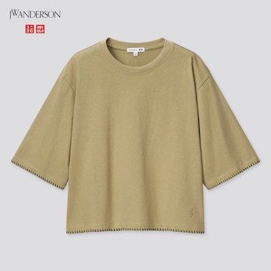 Women Cotton Blanket Stitch Half-Sleeve T-Shirt (Jw Anderson), Olive, Medium