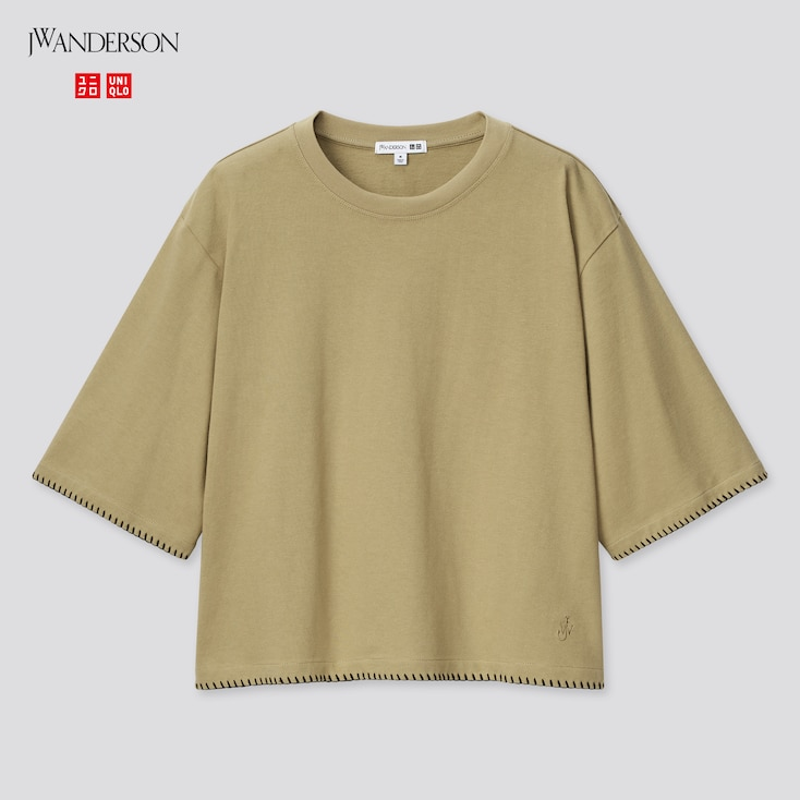 Women Cotton Blanket Stitch Half-Sleeve T-Shirt (Jw Anderson), Olive, Large
