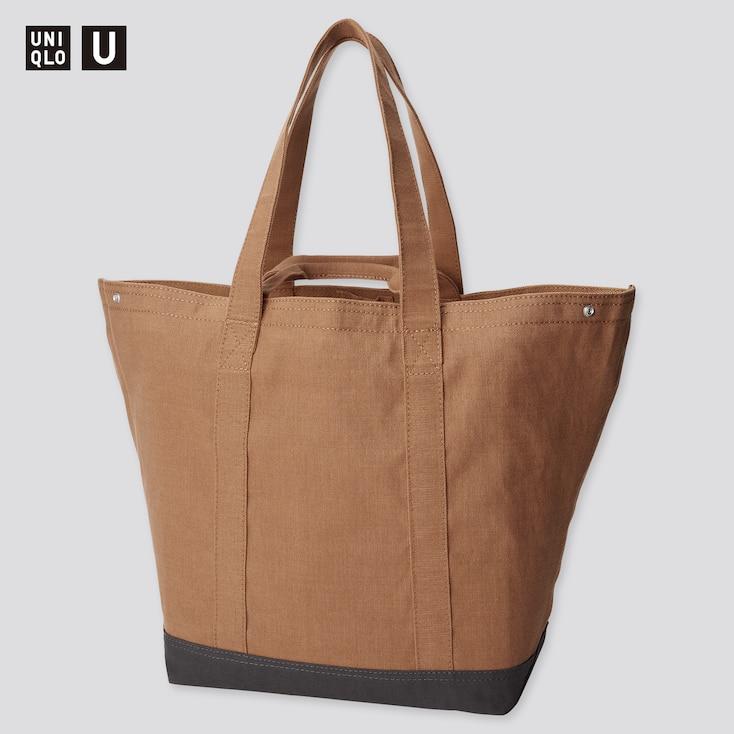 U Tote Bag, Brown, Large
