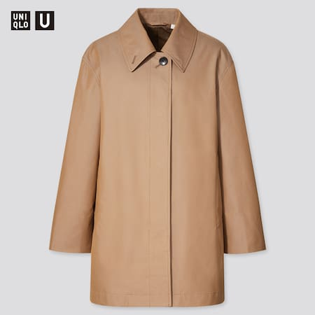 Women Uniqlo U Soutien Collar Short Coat