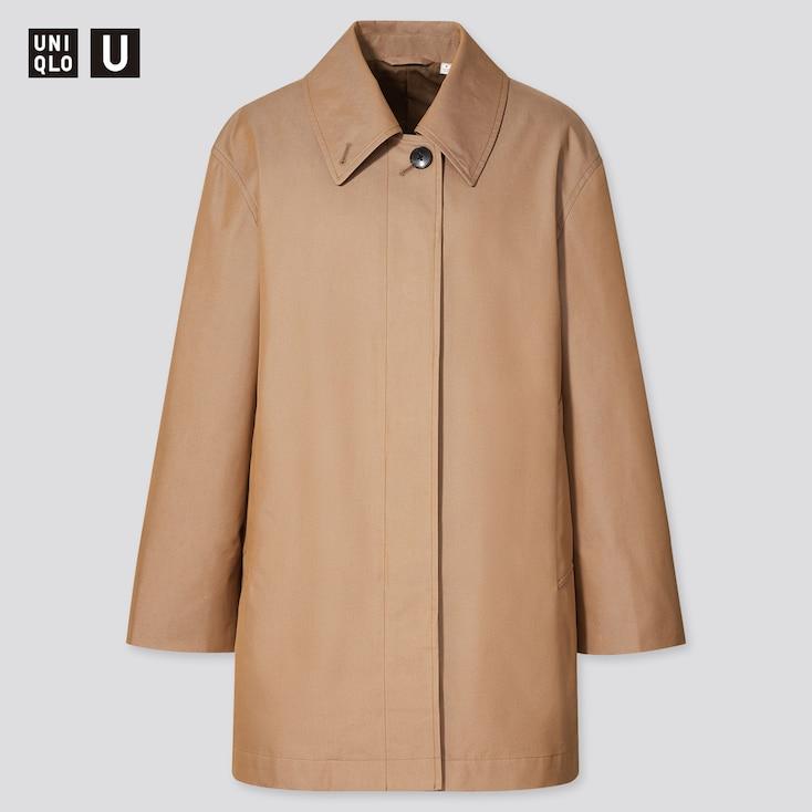Women U Soutien Collar Short Coat, Khaki, Large